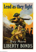 """Military & Patriotic:WWI, Lend- As They Fight. (Lot of 11) 30"""" x 20"""" Artist: Sidney Riesenberg. Printed by the Liberty Loan Committee, this poster ech... (Total: 11 )"""