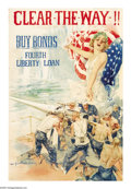 "Military & Patriotic:WWI, Clear The Way! (Lot of 11) 30"" x 20"" Artist: Howard Chandler Christy. Printed for the Fourth Liberty Loan, this poster depic... (Total: 11 items)"