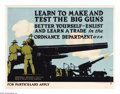 "Military & Patriotic:WWI, Learn To Make and Test The Big Guns (Lot of 2) 19"" x 25"" Artist:C.B. Falls. Printed for the United States Ordnance Depart...(Total: 2 )"