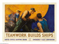 "Military & Patriotic:WWI, Teamwork Builds Ships 36"" x 51"" Artist: W. Stevens. A very popular and scarce poster! This is one of the most ""riveting"" i..."