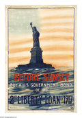 "Military & Patriotic:WWI, Before Sunset Buy A Liberty Bond (Lot of 2) 30"" x 20"" Artist:Eugene De Land. Issued to promote the Second Liberty Loan, t...(Total: 2 items)"