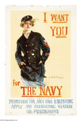 "Military & Patriotic:WWI, I Want You For The Navy 41 1/2"" x 27"" Artist: Howard ChandlerChristy. Possibly one of Christy's most famous posters. Ripe..."