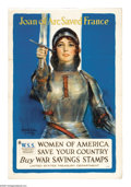 """Military & Patriotic:WWI, Joan of Arc Saved France (Lot of 6) 3-(40"""" x 30"""") and 3-(30"""" x 20"""") Artist: Haskell Coffin. This was an appeal to women in... (Total: 6 items)"""