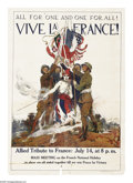 """Military & Patriotic:WWI, All For One and One For All. (Lot of 2) 40"""" x 28"""" Artist: JamesMontgomery Flagg. Scarce Flagg poster, which depicts the all...(Total: 2 )"""