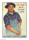 """Military & Patriotic:WWI, Sure, We'll Finish the Job (Lot of 7). 38"""" x 26"""" Artist: Gerrit A.Beneker. Issued for the fifth and final Liberty Loan, k... (Total:7 )"""