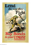"""Military & Patriotic:WWI, Lend The Way They Fight (Lot of 3) 41"""" x 27"""" Artist: M. Ashe.Perhaps one of the most vivid and lively posters of the time. ...(Total: 3 )"""