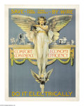 """Military & Patriotic:WWI, Do It Electrically 34"""" x 27"""" Artist: Unknown. Printed by ElectricP.R. This poster has close ties to a poster stamp printed ..."""
