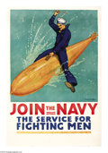 """Military & Patriotic:WWI, Join the Navy-The Service for Fighting Men (Lot of 2) 42"""" x 28""""Artist: R. F. Babcock. A fantastic image which may have prov...(Total: 2 )"""