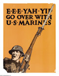 """Military & Patriotic:WWI, E-E-E-YAH-YIP Go Over With the U.S. Marines (Lot of 2) 28"""" x 21""""Artist: C. B. Falls. Some question has been raised to the a...(Total: 2 )"""