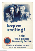 "Military & Patriotic:WWI, Keep 'em Smiling! (Lot of 3) 42"" x 28"" Artist: M. Leone Bracker.Most collectors magazines and publications list this as one...(Total: 3 )"