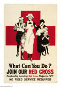 """Military & Patriotic:WWI, What Can You Do? Join Our Red Cross (Lot of 5) 41"""" x 28"""" Artist:Unsigned. The Red Cross has been providing humanitarian aid...(Total: 5 )"""
