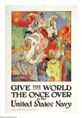 """Military & Patriotic:WWI, Give the World the Once Over (Lot of 2) 43"""" x 28"""". Artist: James H.Doherty. This poster depicts several sailors riding atop... (Total:2 )"""