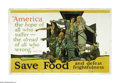 "Military & Patriotic:WWI, Save Food and Defeat Frightfulness (Lot of 3) 36"" x 54"". Artist: M.Paus. This is a unique opportunity to obtain three copie... (Total:3 )"