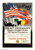 "Military & Patriotic:WWI, Our Flags (Lot of 4) 21"" x 12"". Artist: Adolf Trieder. AdolfTrieder was a poster illustrator for both World War I and Wor...(Total: 4 )"
