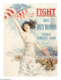 """Military & Patriotic:WWI, Fight or Buy Bonds (Lot of 2) 30"""" x 20"""" Artist: Howard Chandler Christy. Christy was a popular magazine illustrator before t... (Total: 2 items)"""