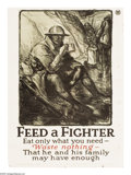 """Military & Patriotic:WWI, Feed a Fighter. (Lot of 2) 29"""" x 21"""" Artist: W. Morgan. Morgan wasone of the official artists for the American Expedition... (Total:2 items)"""