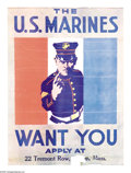 """Military & Patriotic:WWI, The U. S. Marines Want You 28"""" x 21"""" Artist: unsigned. Printed forthe U.S. Marine Corps. This poster is reminiscent of Ja..."""