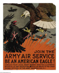 "Military & Patriotic:WWI, Join The Army Air Service 27"" x 20 1/2"" Artist: Charles Livingston Bull. Charles Livingston Bull was a well-known animal i..."