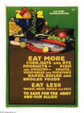 """Military & Patriotic:WWI, Eat More Corn, Oats, and Rye Products (Lot of 2) 30"""" x 20"""" Artist:L.N. Britton. Printed for the U.S. Food Administration.... (Total:2 items)"""
