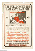 """Military & Patriotic:WWI, The Prussian Blot (Lot of 2) 30"""" x 20"""" Artist: unknown. Two postersdepicting an insert map of Europe with German occupied... (Total: 2)"""
