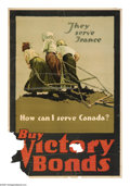 """Military & Patriotic:WWI, They Serve France-How Can I Serve Canada? 35"""" x 24"""" Artist:unsigned. This image is used in two other popular posters, bot..."""