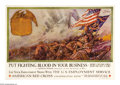 "Military & Patriotic:WWI, Put Fighting Blood In Your Business 19"" x 28"" Artist: Dan Smith. Afine image issued by the U.S. Employment Service and th..."