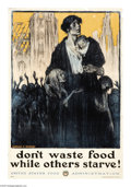 """Military & Patriotic:WWI, Don't Waste Food (Lot of 5) 30"""" x 20"""" Artist: L.C. Clinker and M.J.Dwyer. Printed For the U.S. Food Administration. This ... (Total: 5)"""