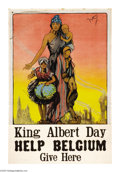 "Military & Patriotic:WWI, King Albert Day 30"" x 20"" Artist: Nuylte. A rare poster for whichwe could find no other example. It depicts a woman carry..."