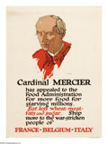 "Military & Patriotic:WWI, Cardinal Mercier (Lot of 4) 28"" x 21"" Artist: unsigned. Printed forthe U.S. Food Administration. One of the many posters ... (Total: 4)"