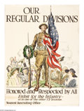"""Military & Patriotic:WWI, Our Regular Divisions (Lot of 3) 28"""" x 20 1/2"""" Artist: JamesMontgomery Flagg. Printed for the United States Army. Recruit...(Total: 3 )"""