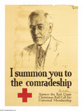 "Military & Patriotic:WWI, I Summon You To The Comradeship (Lot of 2) 28""x 20"" Artist:Meilziner. Printed for the United States Red Cross. 1918 Red C...(Total: 2 )"