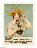 """Military & Patriotic:WWI, Hello, This is Liberty Speaking! 12"""" x 9"""" Artist: Z.P. Nikolaki. Avery small poster with an amazingly wonderful image! It..."""