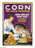 """Military & Patriotic:WWI, Corn- The Food of the Nation 30"""" x 20"""" Artist Lloyd Harrison.Printed for the United States Food Administration. This beau..."""