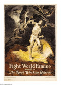 """Military & Patriotic:WWI, Fight World Famine (Lot of 2) 28""""x 19"""" Artist: unsigned. Printed bythe U.S. Department of Labor. This poster is an amazin... (Total: 2items)"""