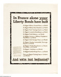 """Military & Patriotic:WWI, In France Alone 28"""" x 22"""" Artist: Dugas. Printed for the LibertyLoan Committee. This poster was printed to educate people..."""
