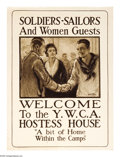 """Military & Patriotic:WWI, Soldiers-Sailors- and Women Guests. (Lot of 2) 39"""" x 28"""" Artist:Walter Tittle. Printed for the Y.W.C.A. This poster is much...(Total: 2 )"""