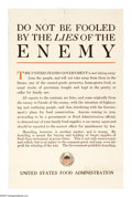 """Military & Patriotic:WWI, Do Not Be Fooled By The Lies Of The Enemy 22"""" x 14"""" Artist:unsigned. An interesting anti-propaganda poster. This poster t..."""