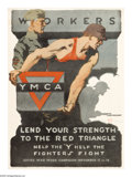 """Military & Patriotic:WWI, Workers Lend Your Strength. (Lot of 2) 27"""" x 20"""" Artist: Gil Spear.Printed for the Y.M.C.A. Another very popular image of a... (Total:2 )"""