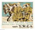 """Military & Patriotic:WWI, A Girl On Land Serves the Nation's Need 25"""" x 29.5"""" Artist: EdwardPenfield. Printed for the Y.W.C.A. A cataloguer at Stanfo..."""