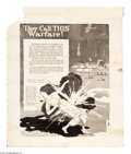 """Military & Patriotic:WWI, They Call This Warfare! 25"""" x 21"""" Artist: unsigned. Printed by theLiberty Loan Committee. One of the pantheon of black an..."""