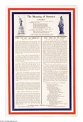 "Military & Patriotic:WWI, The Meaning of America 22""x 14"" Artist: Robert McNutt. This posteris a collection of patriotic thoughts, a prayer and a c..."