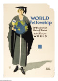 "Military & Patriotic:WWI, World Fellowship- Students of the World 40"" x 28"" Artist: AdolphTriedler. A rare poster by an artist who made prolific po..."