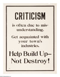 """Military & Patriotic:WWI, Criticism 25"""" x 19"""" Artist: unsigned. Printed by the NationalIndustrial Conservation Movement. One of the many posters pr..."""