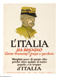 "Military & Patriotic:WWI, L'Italia 28"" x 20"" Artist: Illian. Printed by the United StatesFood Administration. This poster, written in Italian says:..."