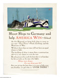 """Military & Patriotic:WWI, Shoot Ships to Germany and Let America Win 25"""" x 19"""" Artist: AdolphTreidler. Printed by the United States Shipping Board,..."""