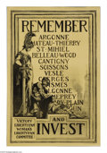 "Military & Patriotic:WWI, Remember: (Town Names Listed) 30"" x 20"" Artist: J.H.M. (intitalsnot known). This poster features an amazing somber drawin..."