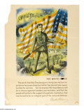 """Military & Patriotic:WWI, Chautauqua- The White. 28"""" x 21"""" Artist: unsigned. This posterdepicts a young doughboy holding an American flag, with a mes..."""