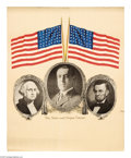 """Military & Patriotic:WWI, Stars and Stripes Forever 20"""" x 16"""" Artist: unsigned. This posteris a simple patriotic sign which depicts Presidents Wash..."""