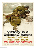 "Military & Patriotic:WWI, Victory Is A Question of Stamina. 30"" x 20"" Artist:Harvey Dunn.Printed by the U.S. Food Administration. A poster that looks..."