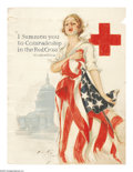 """Military & Patriotic:WWI, I Summon You Comrades to the Red Cross 40"""" x 30"""" Artist: HarrisonFisher. Printed for the United States Red Cross. This lo..."""